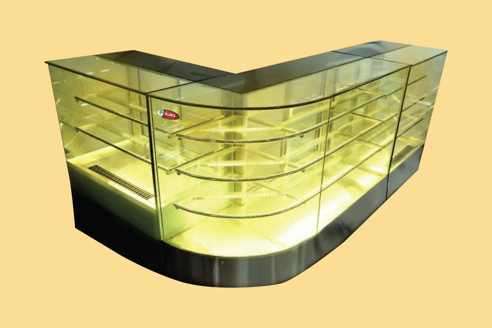 L Type Bend Glass Display Counters